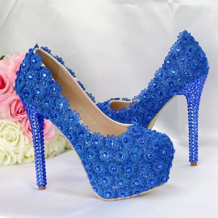 Pearl Lace White High Heels Wedding Pumps | Bridelily - 14cm blue / 34