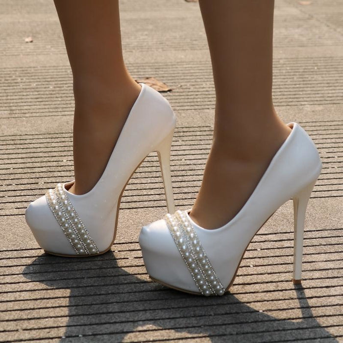 Pearl Rhinestone High Heel Wedding Pumps | Bridelily - wedding pumps