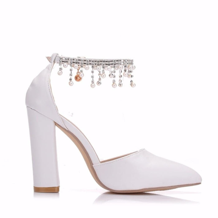 Pearl Rhinestone High Heel Wedding Sandals | Bridelily - wedding sandals