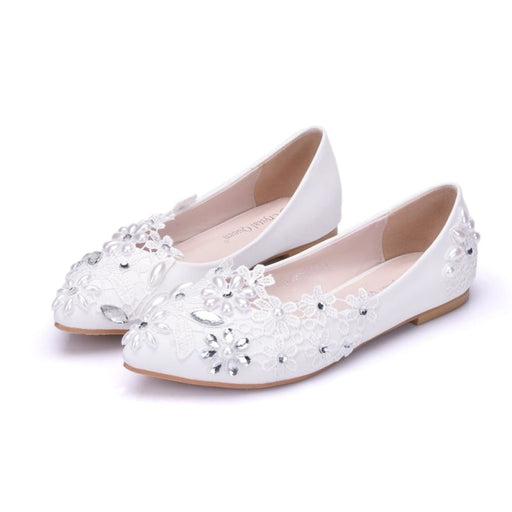 Pearl Rhinestone Lace Handmade Wedding Flats | Bridelily - wedding flats