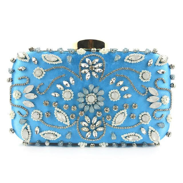Pearl Vintage Satin Crystal Wedding Handbags | Bridelily - Blue - wedding handbags