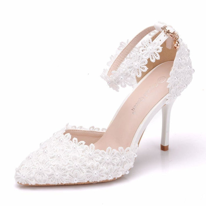 Pearl White Lace High Heels Wedding Sandals | Bridelily - white / 34 - wedding sandals
