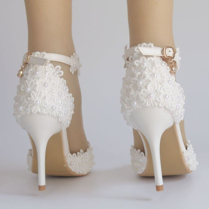 Pearl White Lace High Heels Wedding Sandals | Bridelily - wedding sandals