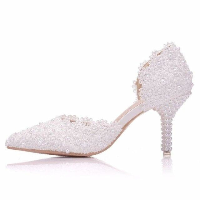 Pearl White Lace High Heels Wedding Sandals | Bridelily - 7CM WHITE / 34 - wedding sandals