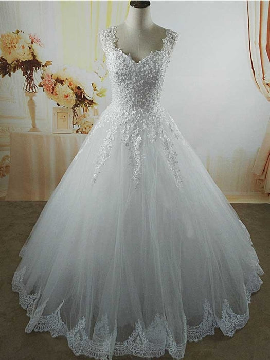 Pearls A-Line Tulle Wedding Dresses - wedding dresses
