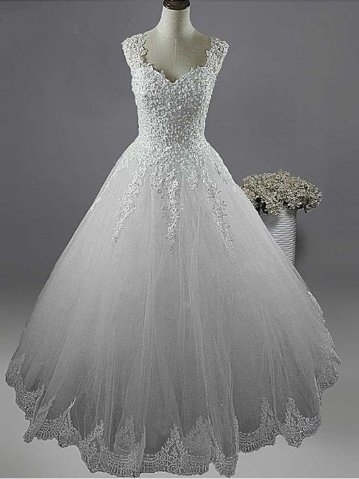 Pearls A-Line Tulle Wedding Dresses - Ivory / Floor Length - wedding dresses