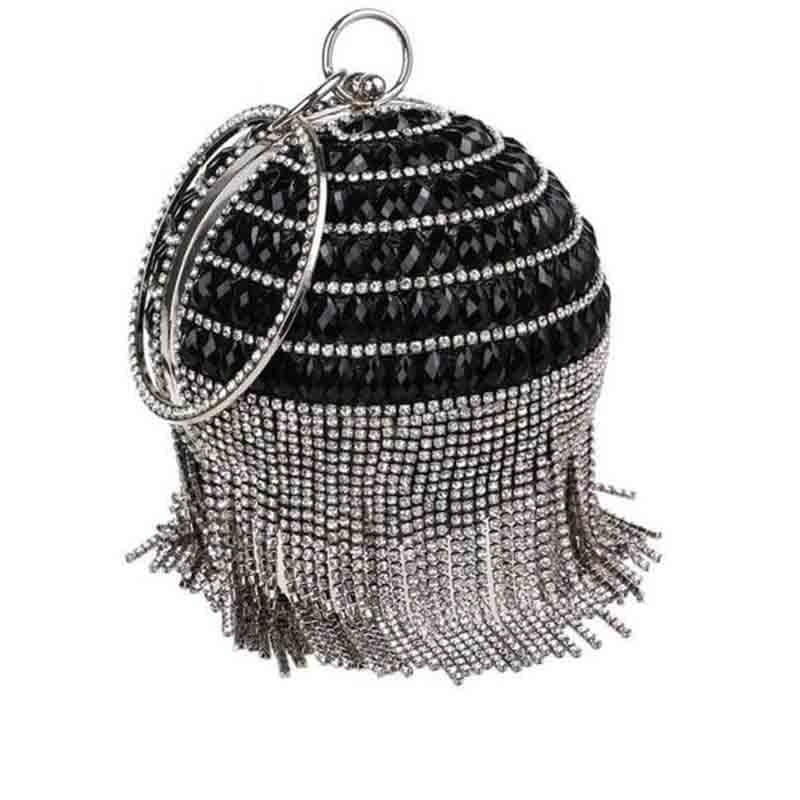 Pearls Design Round Shape Beaded Wedding Handbags | Bridelily - black b / Mini(Max Length<20cm) - wedding handbags