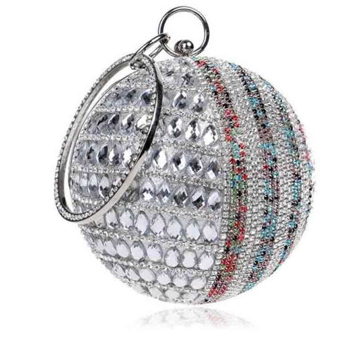 Pearls Design Round Shape Beaded Wedding Handbags | Bridelily - silver single side / Mini(Max Length<20cm) - wedding handbags