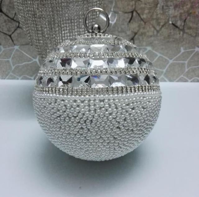 Pearls Design Round Shape Beaded Wedding Handbags | Bridelily - silver f / Mini(Max Length<20cm) - wedding handbags