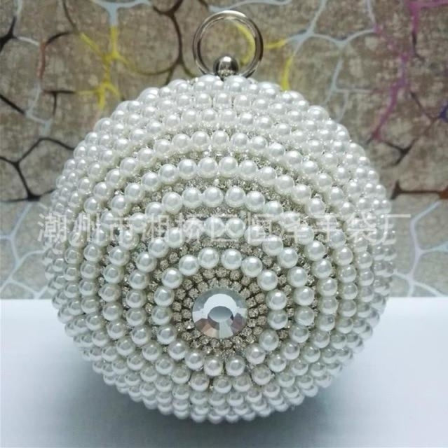 Pearls Design Round Shape Beaded Wedding Handbags | Bridelily - silver e / Mini(Max Length<20cm) - wedding handbags