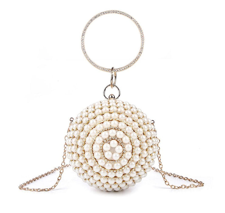 Pearls Design Round Shape Beaded Wedding Handbags | Bridelily - gold A / Mini(Max Length<20cm) - wedding handbags