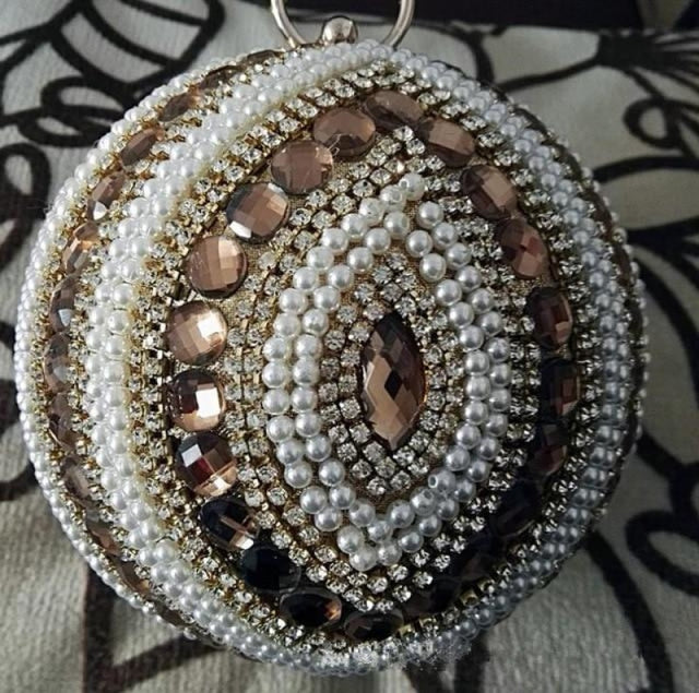 Pearls Design Round Shape Beaded Wedding Handbags | Bridelily - gold f / Mini(Max Length<20cm) - wedding handbags