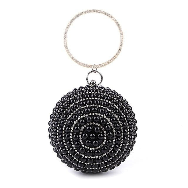 Pearls Design Round Shape Beaded Wedding Handbags | Bridelily - black A / Mini(Max Length<20cm) - wedding handbags
