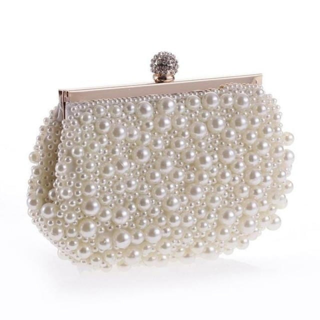 Pearls Fashion Elegant Beaded Wedding Handbags | Bridelily - pears white / Mini(Max Length<20cm) - wedding handbags