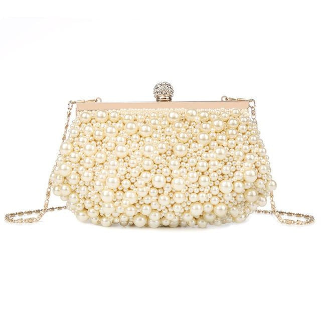 Pearls Fashion Elegant Beaded Wedding Handbags | Bridelily - Design C / Mini(Max Length<20cm) - wedding handbags