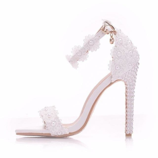 Pearls Lace Handmade Wedding Sandals | Bridelily - white / 35 - wedding sandals
