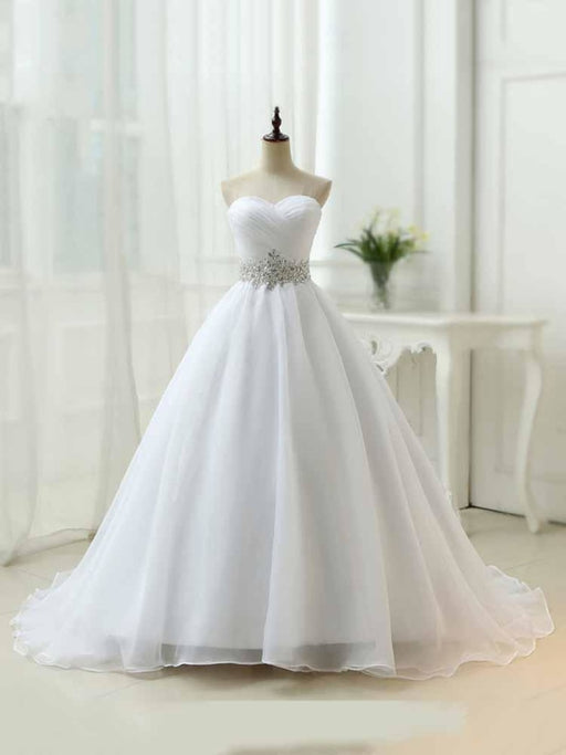 Perfect Sweetheart Lace-Up Ruffles Sash Wedding Dresses - White / Floor Length - wedding dresses