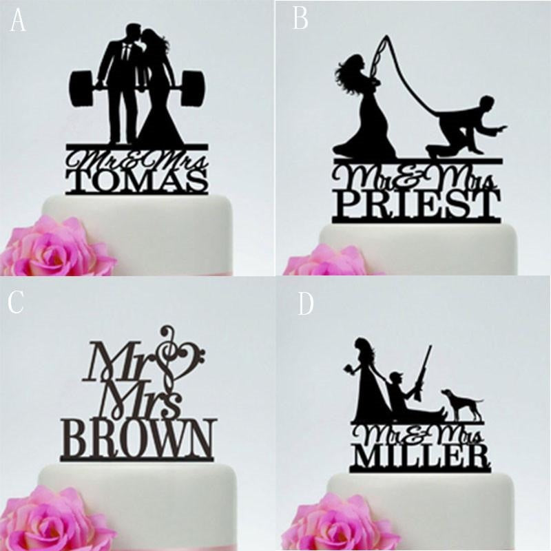 Personalized Acrylic Custom Wedding Cake Toppers | Bridelily - D / 18cm - cake toppers