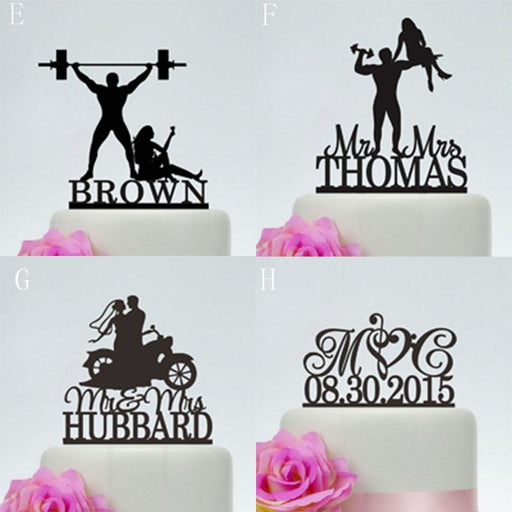 Personalized Acrylic Custom Wedding Cake Toppers | Bridelily - E / 18cm - cake toppers
