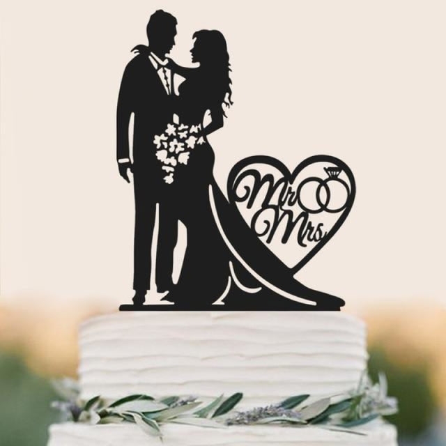 Personalized Classic Couple Wedding Cake Topper | Bridelily - A - cake toppers