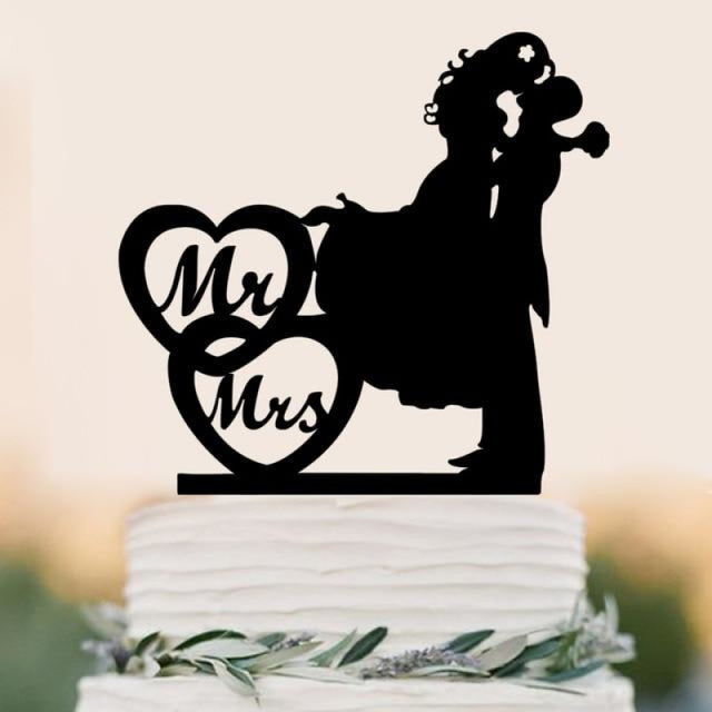 Personalized Classic Couple Wedding Cake Topper | Bridelily - C - cake toppers