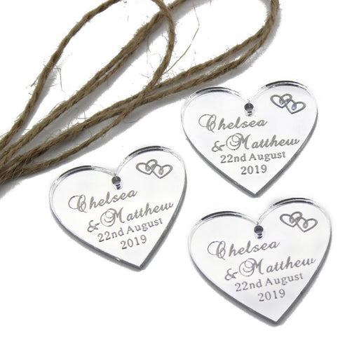 Personalized Clear Acrylic Heart Favors100pcs | Bridelily - personalized favors
