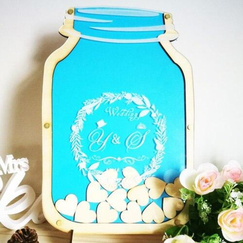 Personalized Customs Mason Jar Wooden Guestbooks | Bridelily - Blue - guestbooks