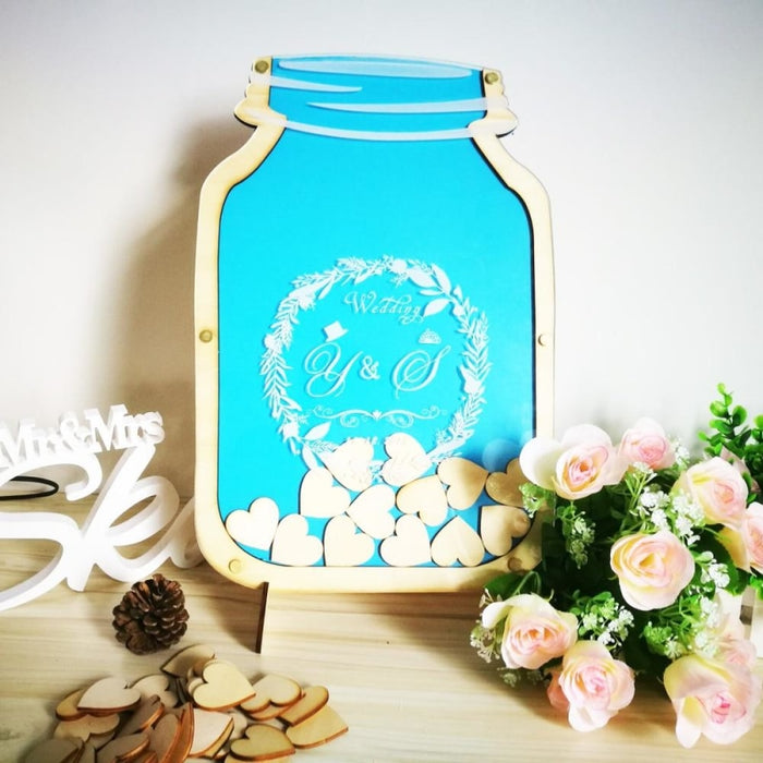 Personalized Customs Mason Jar Wooden Guestbooks | Bridelily - guestbooks