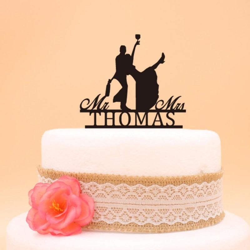 Personalized Drunk Bride and Groom Cake Toppers | Bridelily - cake toppers