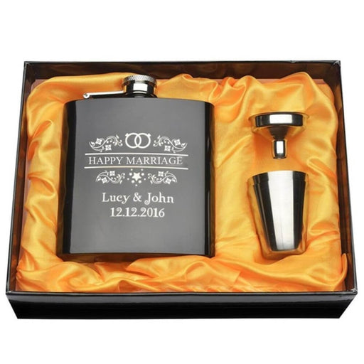 Personalized Engraved Rings Steel Flasks Sets | Bridelily - steel flasks