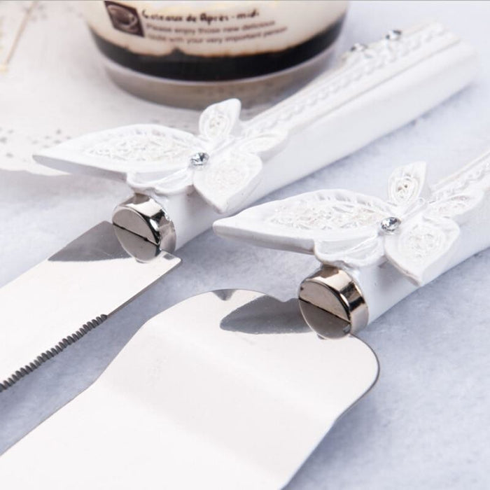 Personalized Favors Butterfly Knife Serving Sets | Bridelily - serving sets