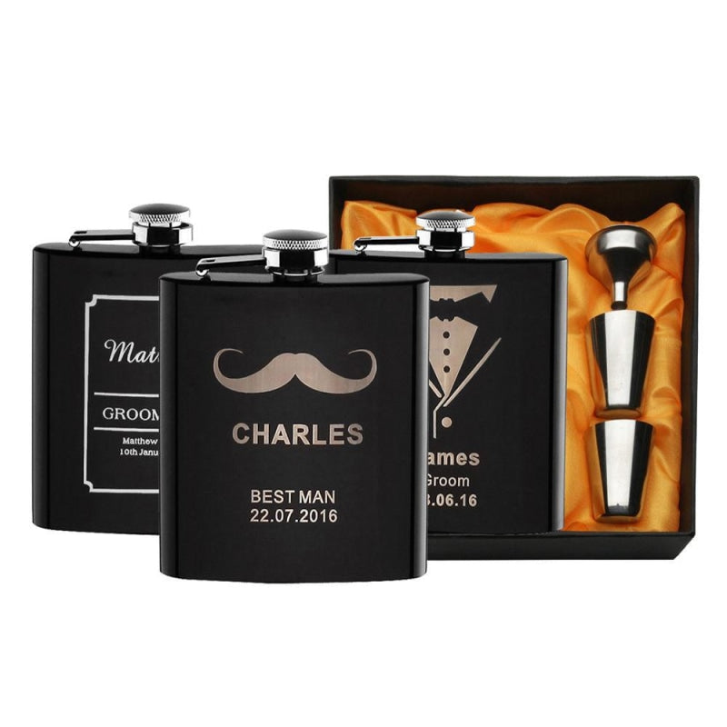 Personalized Favors Engraved Whisky Flagon Sets | Bridelily - steel flasks