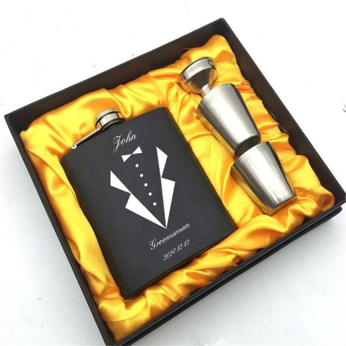 Personalized Favors Yellow Box Steel Flask Sets | Bridelily - steel flasks