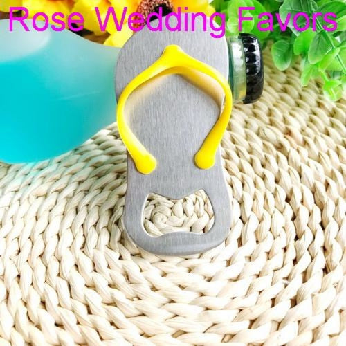Personalized Flip-flop Bottle Opener & Wedding Gifts | Bridelily - Yellow / US / Pink Box - groom gifts