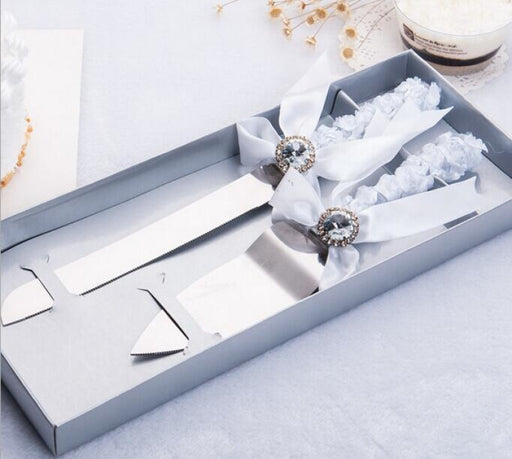 Personalized Knife Lace Ribbon Serving Sets | Bridelily - serving sets