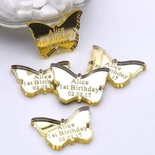 Personalized Mirror Butterfly Tag Favors50pcs | Bridelily - Gold / 3x2.1cm - personalized favors