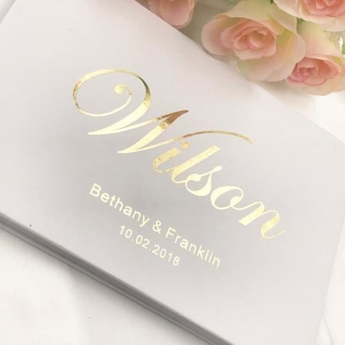 Personalized Name And Date Wedding Guestbooks | Bridelily - B - guestbooks