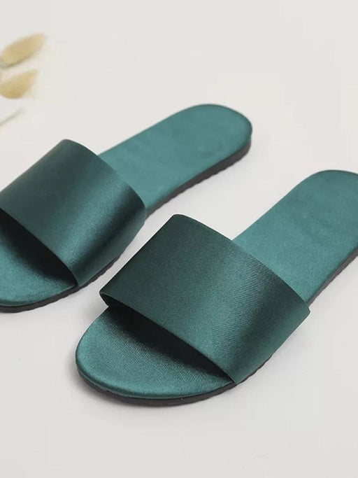 Personalized Name Satin Wedding Spar Slippers | Bridelily - Green / Bridesmaid - bride gifts