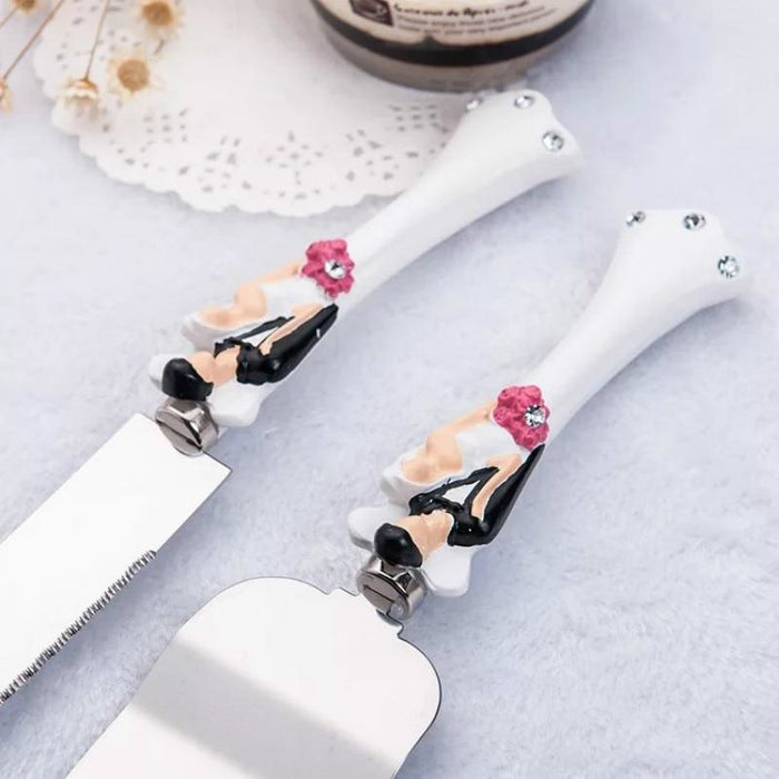 Personalized Resin Cake Knife Server Sets | Bridelily - serving sets