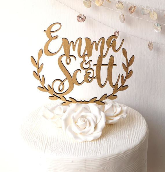 Personalized Rustic Wooden Wedding cake toppers | Bridelily - wooden - cake toppers