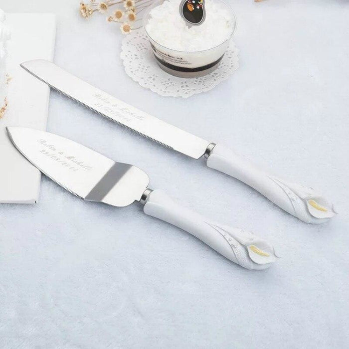 Personalized Stainless Cake Knife Serving Sets | Bridelily - serving sets