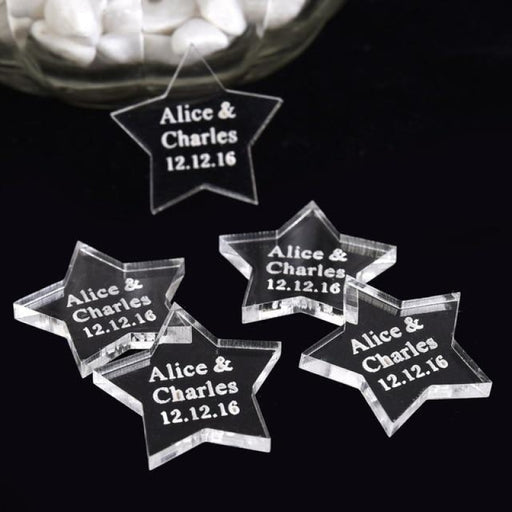 Personalized Star Tag Name Decor Favors50pcs | Bridelily - Clear / 30MM - personalized favors