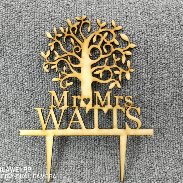 Personalized Surname Wood Tree Cake Toppers | Bridelily - cake toppers