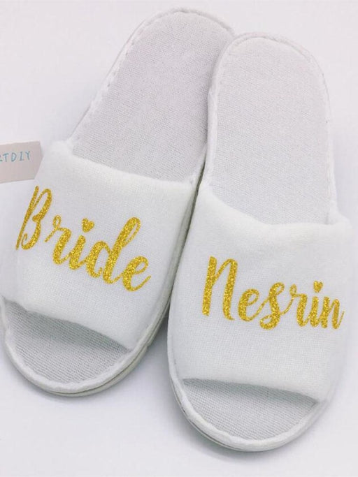 Personalized Title Names Bride Spa Slippers | Bridelily - bride gifts