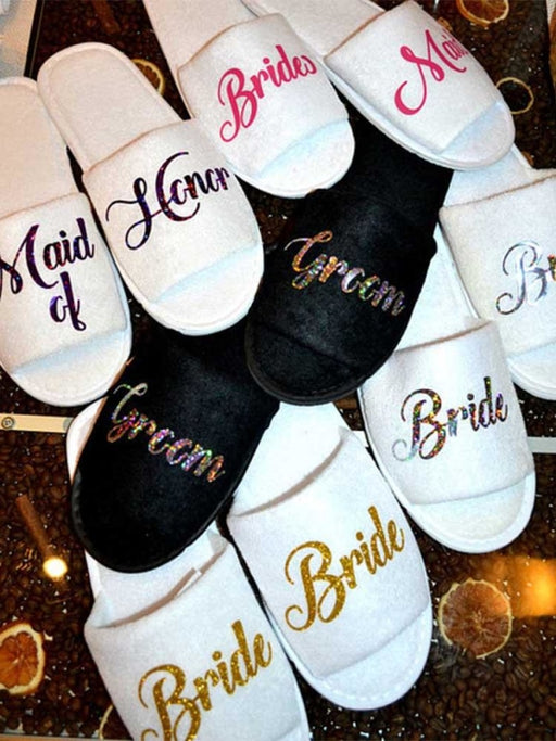Personalized Titles Wedding Spa Soft Slippers | Bridelily - Bride - bride gifts