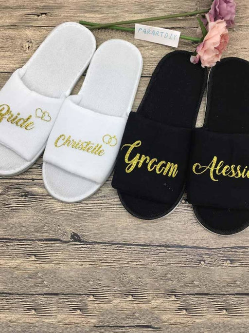 Personalized Titles Wedding Spa Soft Slippers | Bridelily - bride gifts