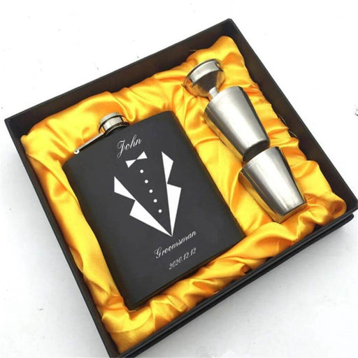 Personalized Yellow Box Suits Steel Flasks Sets | Bridelily - steel flasks