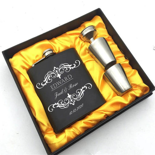 Personalized Yellow Gifts Box Steel Flasks Sets | Bridelily - steel flasks