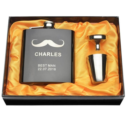 Personalized Yellow Moutache Steel Flasks Sets | Bridelily - steel flasks