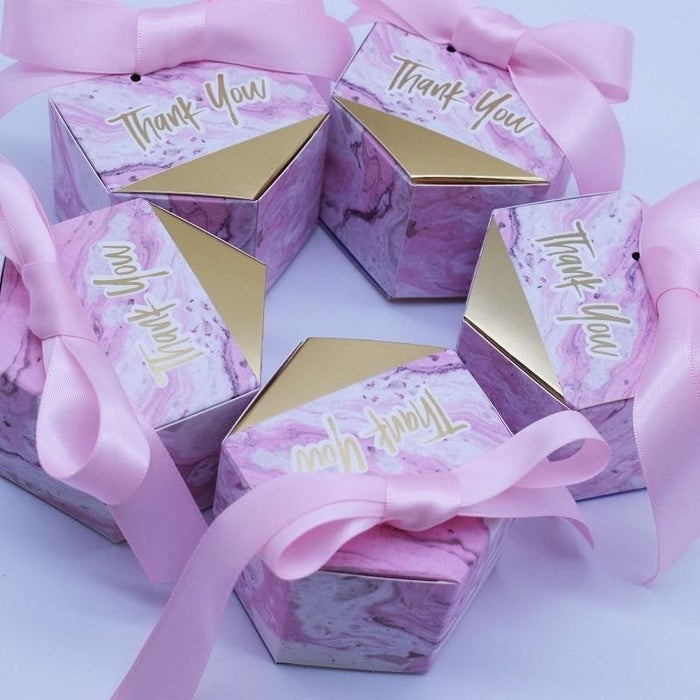 Pink Hexagon Thanks With Bowknot Favor Holders | Bridelily - favor holders